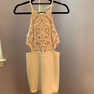 Body Con prom dress, cream color, elegant